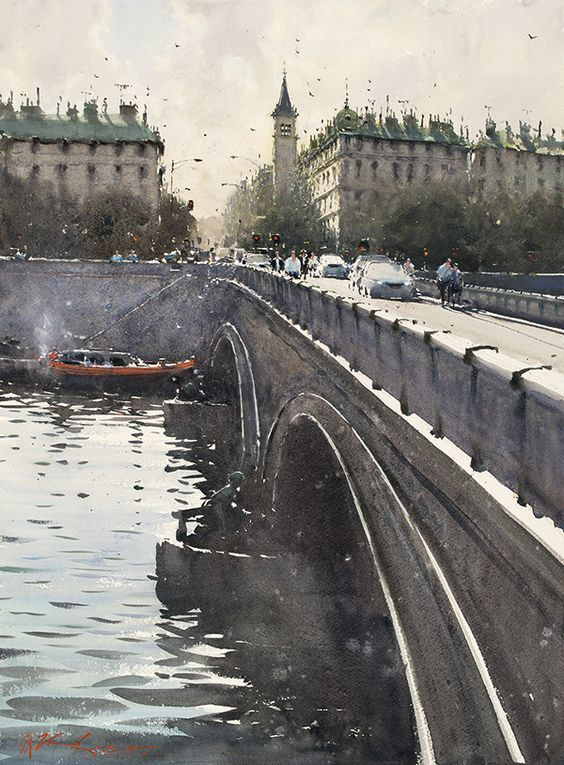 Joseph Zbukvic. Paris Bridge | Paisaje urbano. Pintura acuarela. Paisajes acuarela