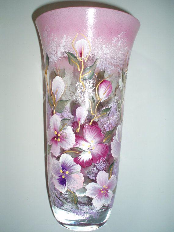 Hand Painted Vasecorated Vase Flowered Vase Glass Vase Hand