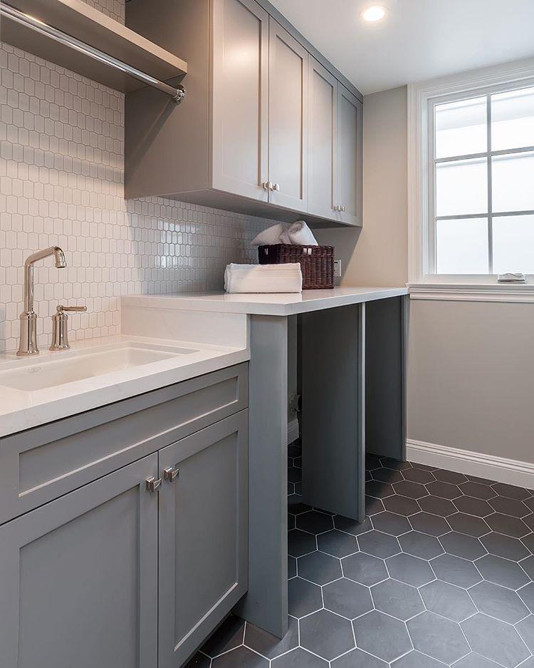 "Photo of @alisondesigns on Instagram: ""A little laundry love #annsacks #interiordesign #interiors #laundry #modernbrownstone #hexagon #hive #design #designer #grey #southbay…"""