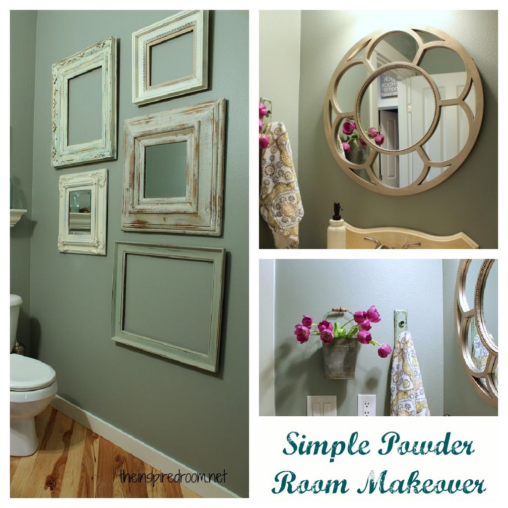 simple powder room makeover ideas - love the bathroom color Glidden slate green.