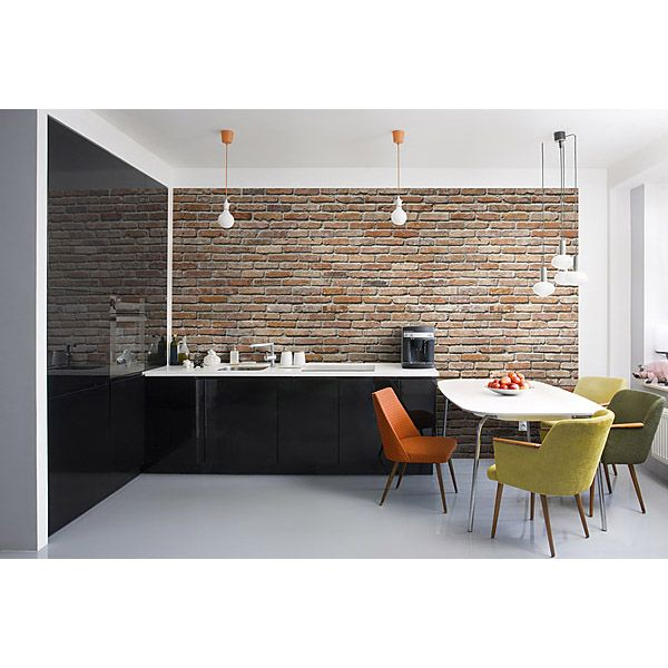make an industrial-chic exposed brick wall with a wallpaper mural