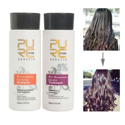 (Ad) Pure Brazilian Keratin Hair Straightening Treatment 100ml Blow Dry + Shampoo Kit