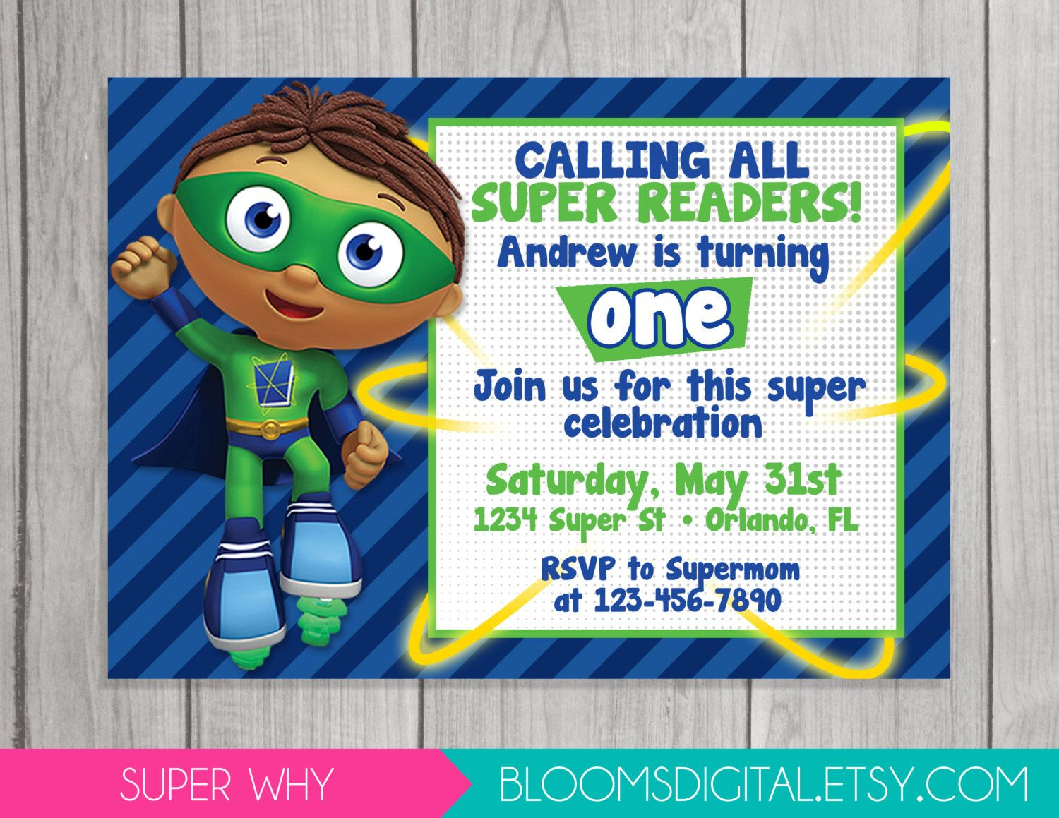 Pin by nateasia baker on planning for jerrens birthday pinterest super why invitation super reader wyatt diy printable you print by bloomsdigital filmwisefo