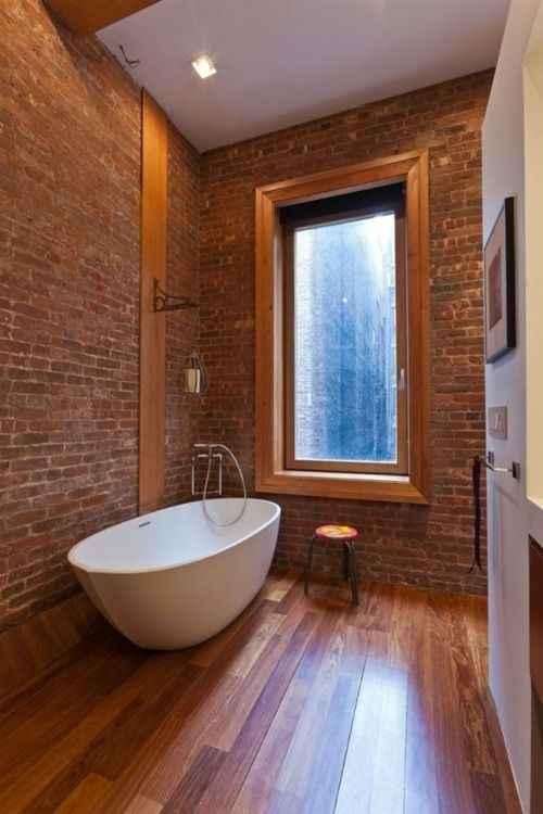la salle de bains en brique rouge en 20 exemples | Home Bathroom ...