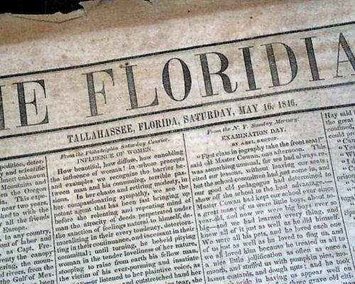 Rare-TALLAHASSEE-FLORIDA-Pre-Civil-Antebellum-Mexican-War-BEGINS-1846-Newspaper