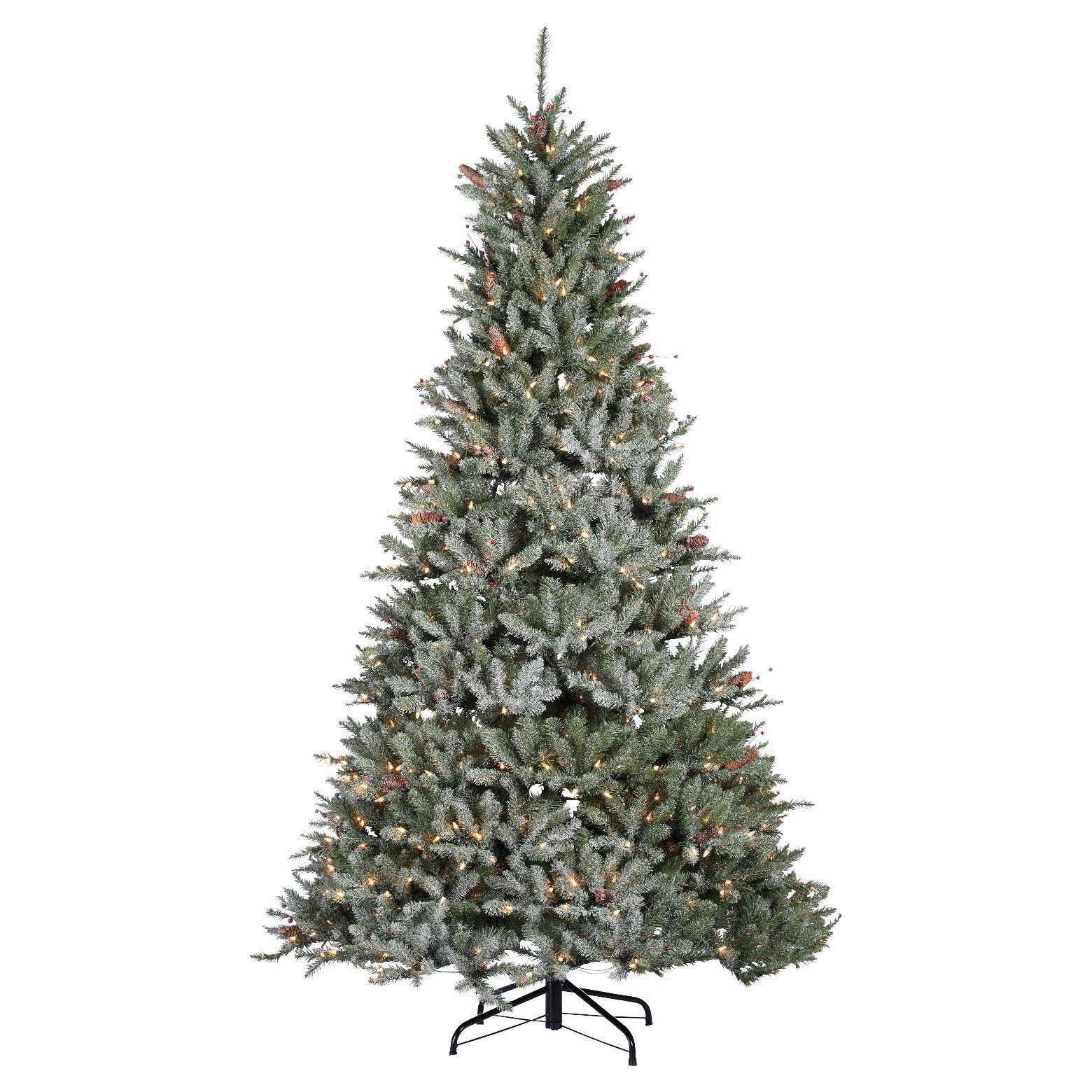 7.5' PreLit White Flocked Pine Artificial Christmas Tree