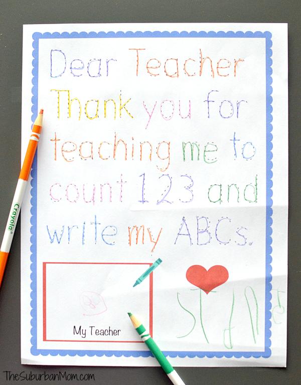 traceable preschool teacher thank you note get crafty pinterest