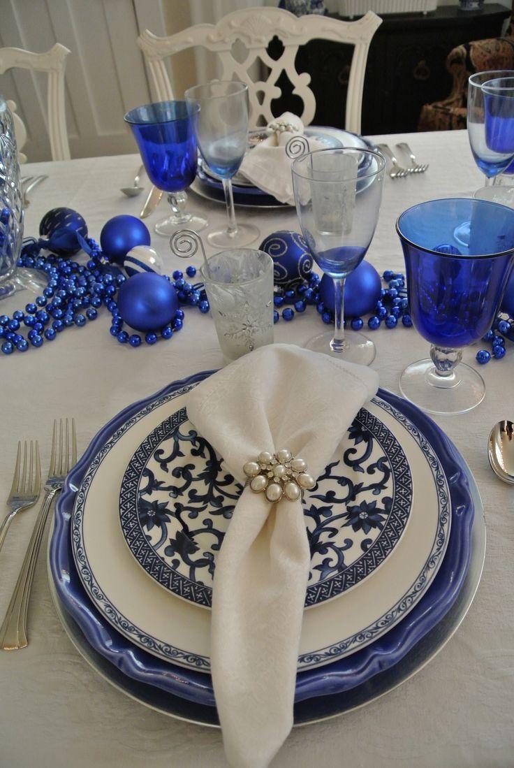 Royal Blue Christmas Blue Christmas White Table Settings Beautiful Table Settings
