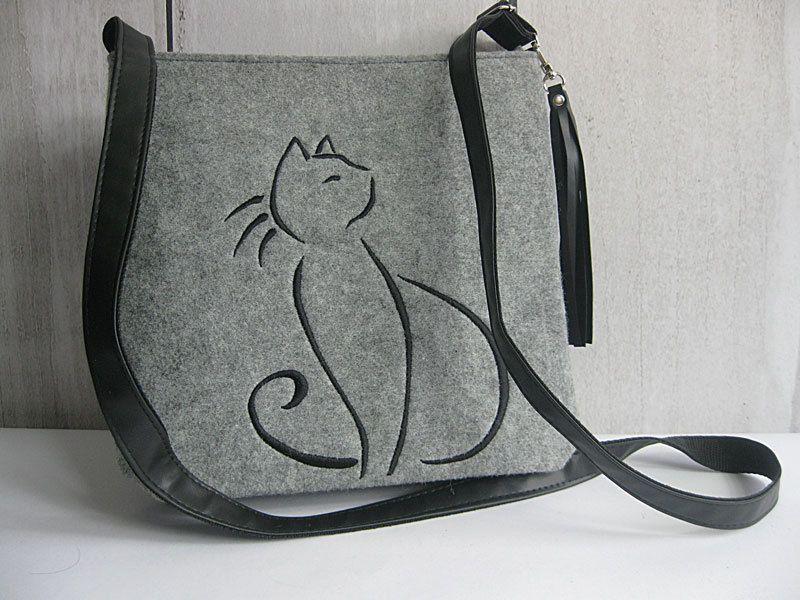 Felt crossbody bag, Women felt bag, Cat bag, Homemade,  Felt shoulder bag, Embroidery, Cat design bag by BPStudioDesign on Etsy