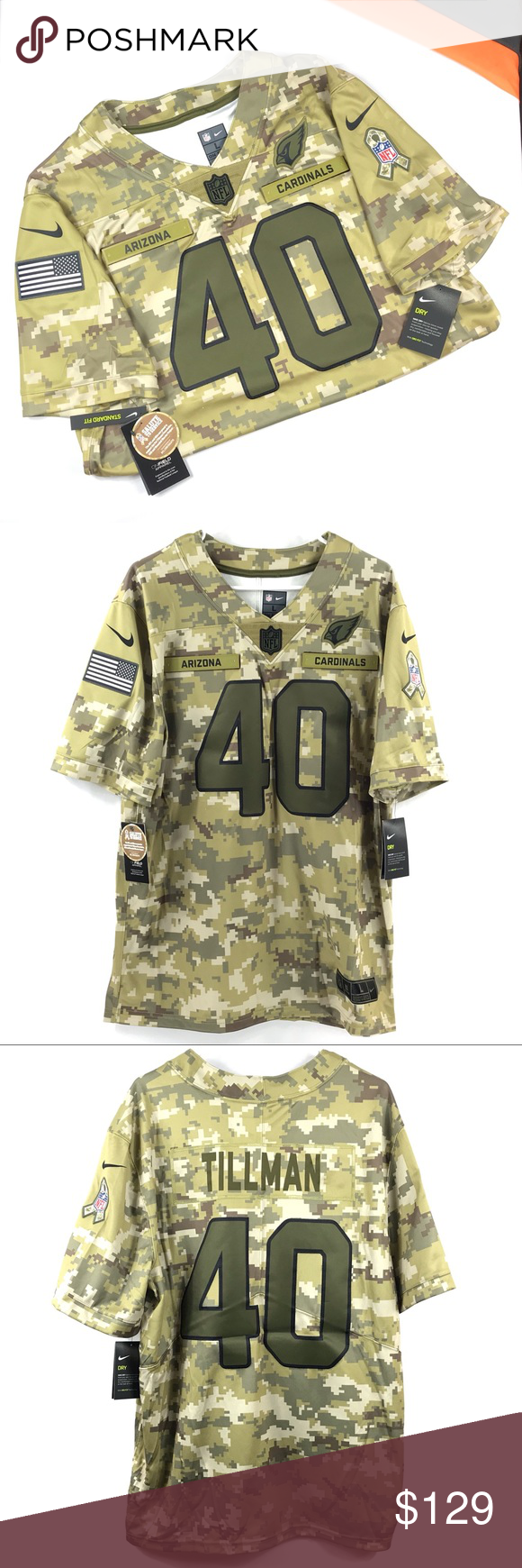 Nike Pat Tillman Salute To Service Jersey 100% Recycled Polyester. Twill numbers and team logo. Salute to Service ribbon and American flag sleeve patches. Satin twill woven jock tag. Tonal NFL shield at collar. Tagless Collar. Men's Nike Limited Jerseys fit true to size. We recommend ordering one size larger than you normally wear for a looser fit or up two sizes if you plan on layering underneath the jersey.  Purchased through major retailer and are 100% authentic.  Ship from smoke free home wi #salutetoservice