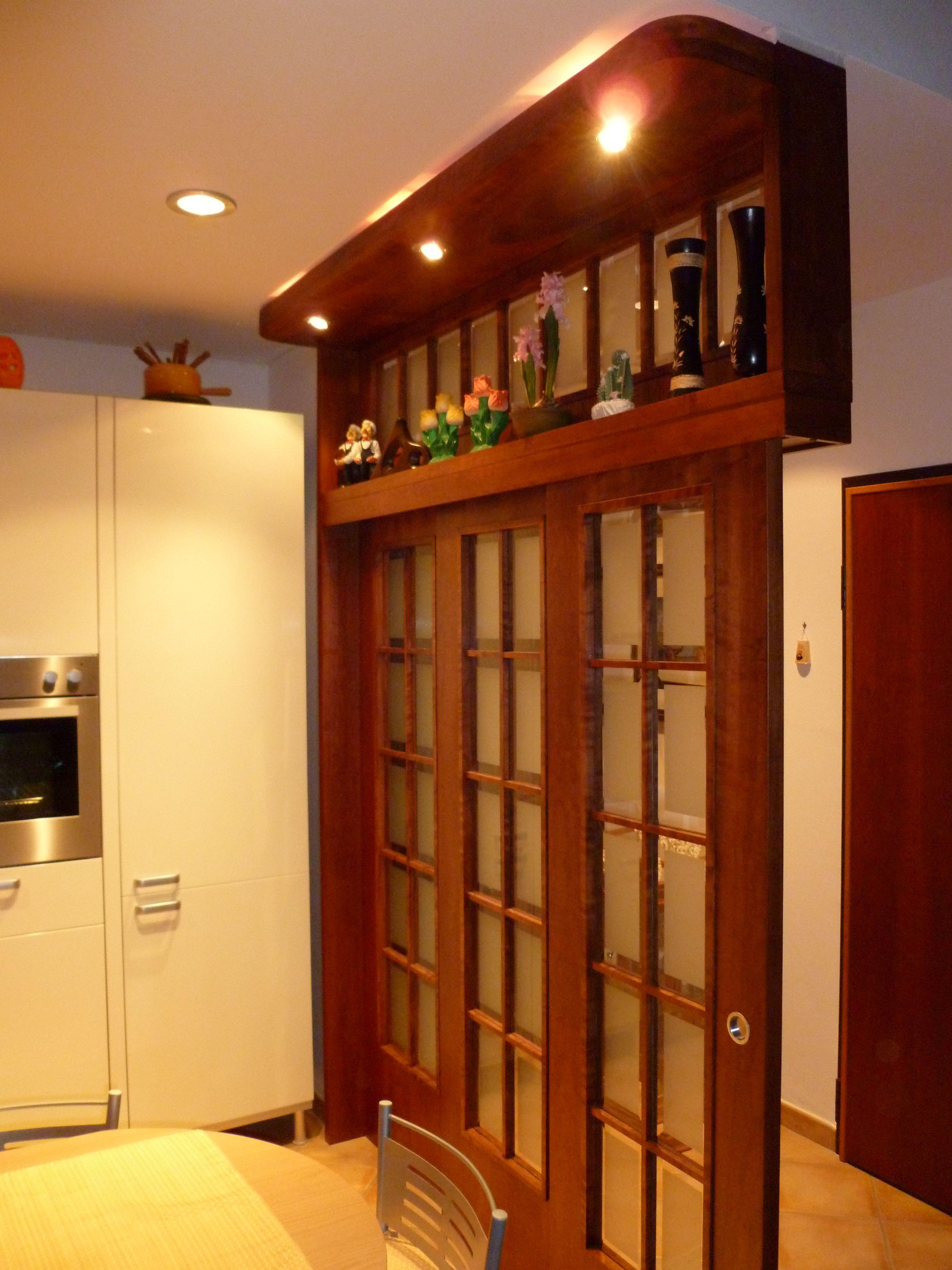 Porta in legno di ciliegio a e ante scorrevoli con vetri - Porte color ciliegio ...