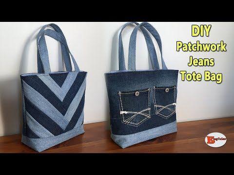 Wie man eine Patchwork Jean Einkaufstasche näht