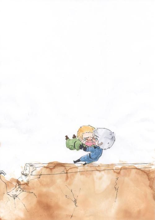 Hetalia- Germany (West) and Prussia (East). After the destruction of the Berlin Wall, East and West Germany were reunited.