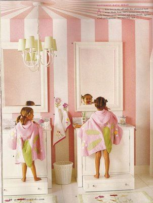 Cute little girls bathroom with No more annoying footstools... love this!  Just turn drawers upside down and when they grow up turn them over for their intended use!  Of course make sure the drawers are strong enough to support the little ones.