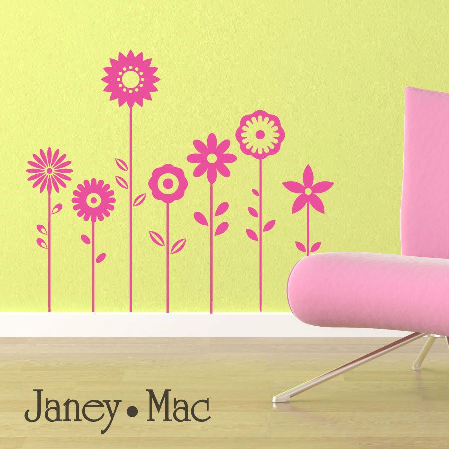 Flower Wall Decal - Vinyl Sticker Wall Art Florals - Children\'s ...