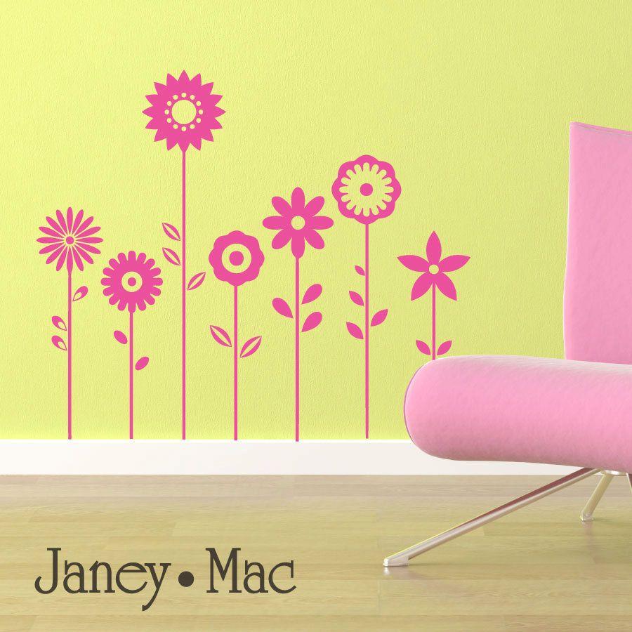 Flower Wall Decal - Vinyl Sticker Wall Art Florals - Children\'s ...