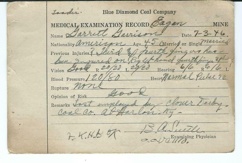 1946 Blue Diamond Coal Co Eagan Tn Medical Exam Record For