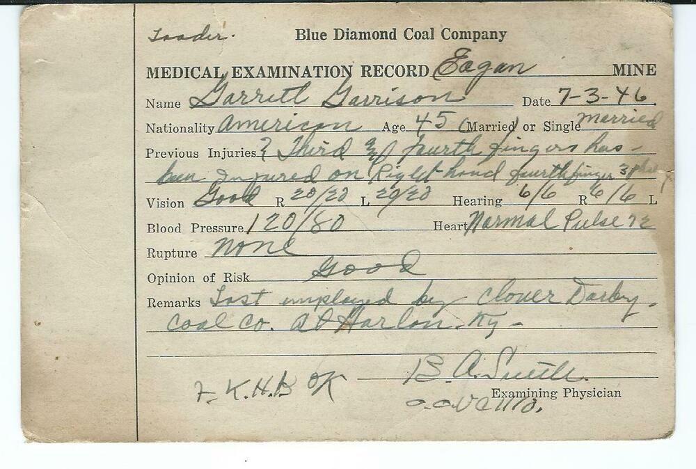 1946 Blue Diamond Coal Co Eagan Tn Medical Exam Record For