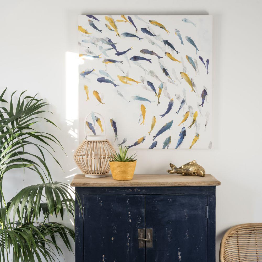 Colourful Shoal Of Fish Pattern Artwork 80x80 Fish Patterns