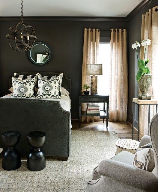 Decorating With Sheer Curtains Dark Bedroom Walls Soothing