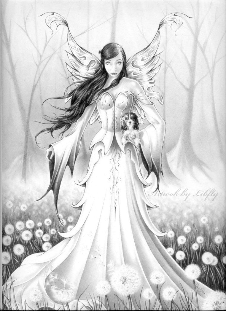 fairy with little dog by libfly on deviantart fairies angels coloring pages fairy coloring. Black Bedroom Furniture Sets. Home Design Ideas