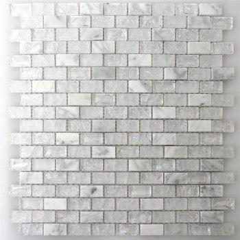 Glas Naturstein Mosaik Fliesen Gebrochen Weiss Effekt Brick ... | {Badezimmer fliesen naturstein mosaik 95}