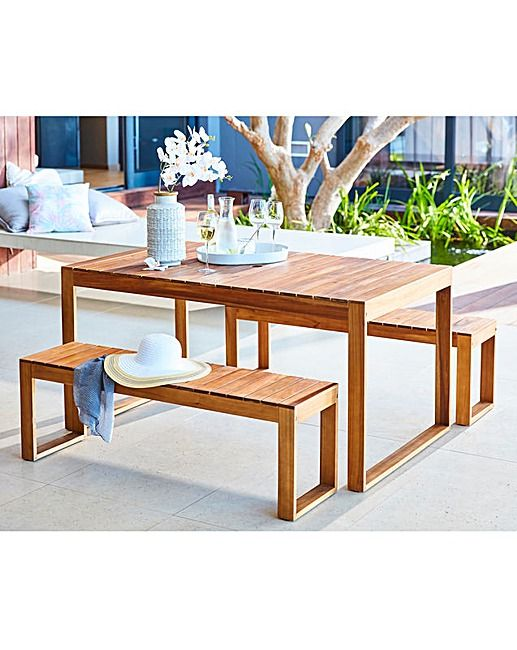Malmo Acacia Table And Bench Dining Set J D Williams Dining
