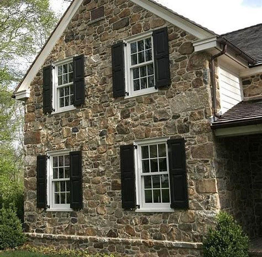 40 Pretty Stone House Design Ideas On A Budget Brick Exterior House Stone Exterior Houses Cottage House Exterior
