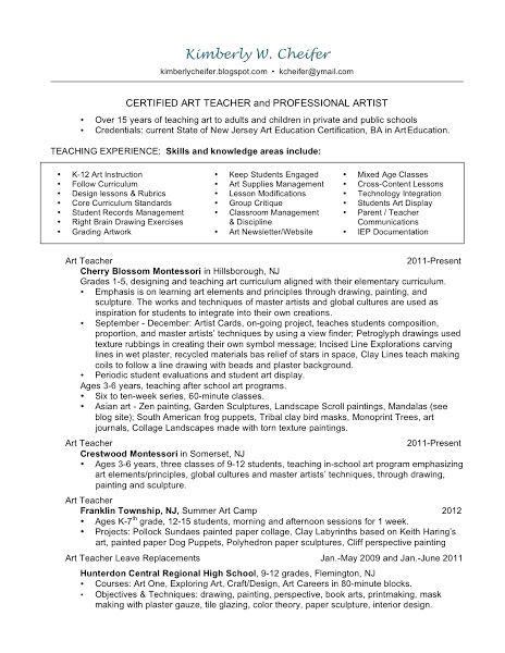 Art Ceramic Teacher Resume  Resume  Design A Job