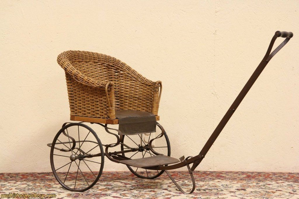 Wicker Child 1910 Antique Pull Chair Carriage Old Cribs