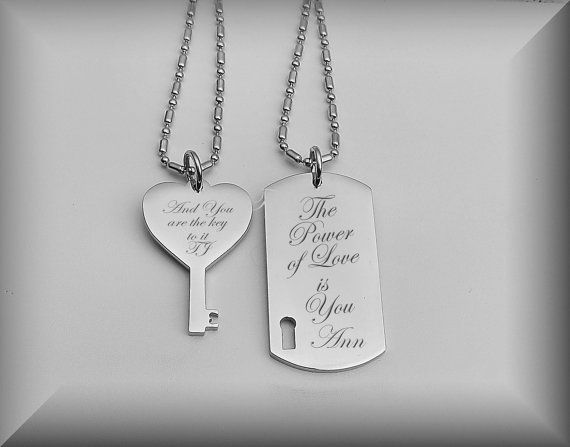 Personalized Necklace Set Silver Dog Tag Heart Key Necklace Etsy Heart Key Necklace Engraved Necklace Silver Dog Tags
