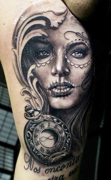 muerte tattoo by proki tattoo black and gray tattoos. Black Bedroom Furniture Sets. Home Design Ideas