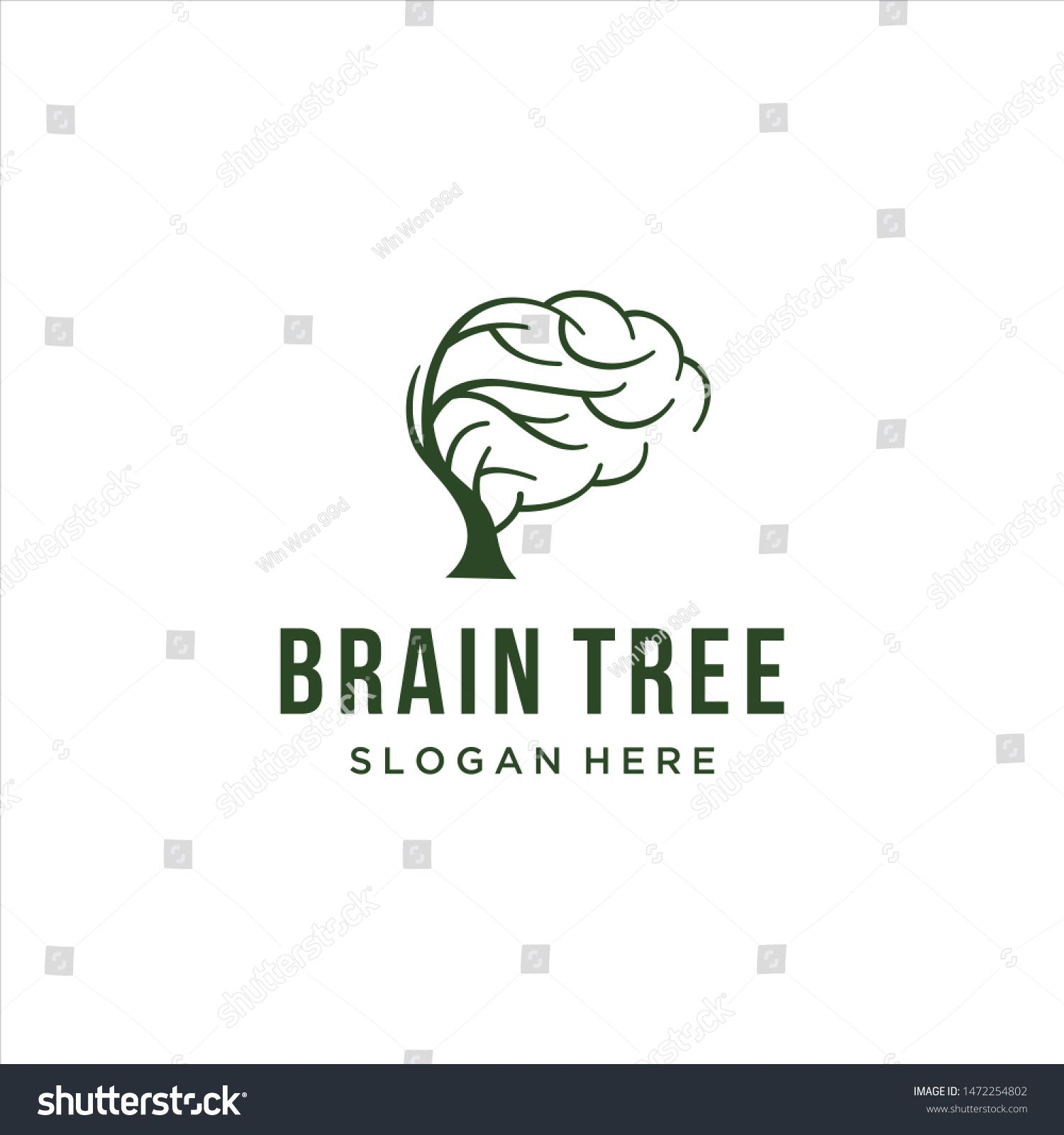 brain tree logo for education simple icon of brain and tree