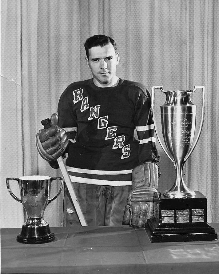 Buddy O'Connor with Hart and Lady Byng Trophies Rangers