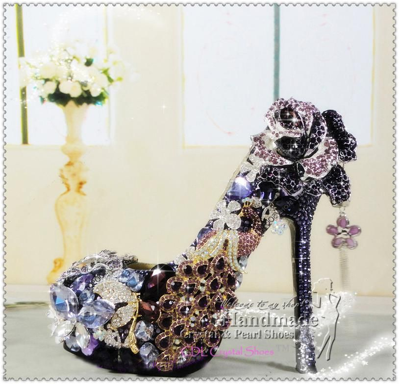 Luxury Purple and Gold High Heels rhinestone Platform pumps lilac ...