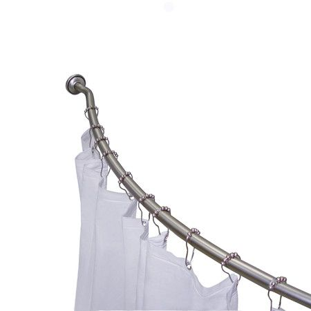 72 Adjustable Curved Fixed Shower Curtain Rod Hook Set Shower