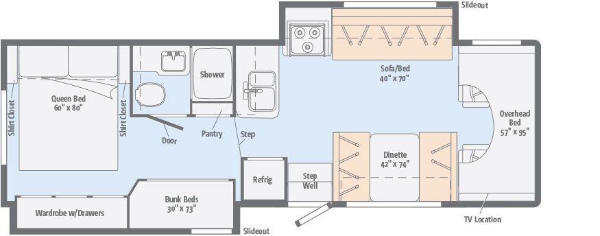 Minnie Winnie Floorplans Winnebago Rvs Rv Floor Plans