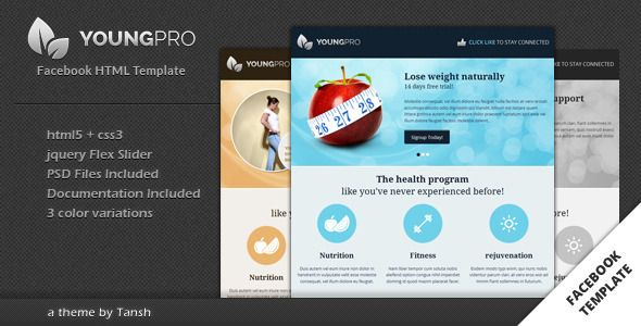youngpro html facebook template facebook page and timeline