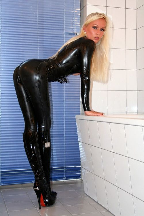 Come Wash My Back Will You Latex Fetish Sexy Catsuit