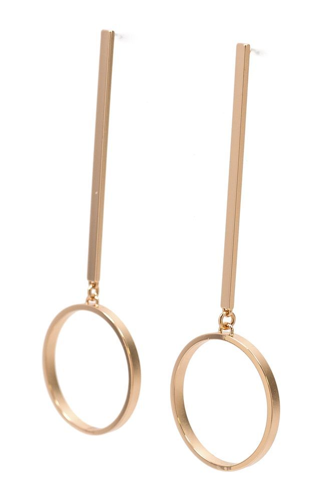 """Serene hoops hang from modern bars. Pair them with a sleek pony for polished look. Dimensions: Measures 3.75"""" in length. Details: Rose gold or Sterling silver plated. Hypoallergenic posts. Leading Can"""