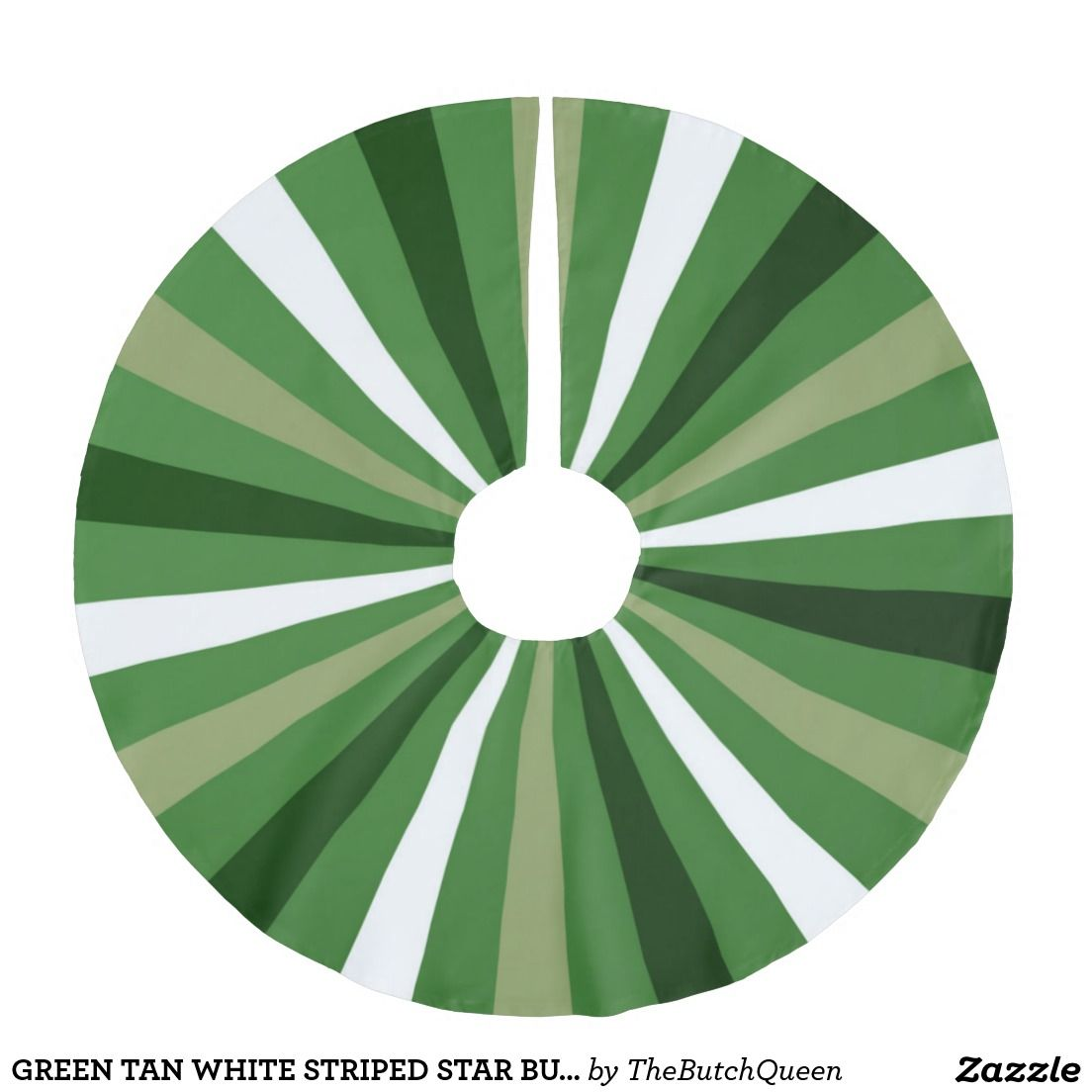 GREEN TAN WHITE STRIPED STAR BURST BRUSHED POLYESTER TREE SKIRT