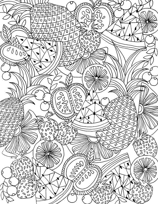 This Cute Coloring Page Is A Great Meditative Activity Coloringbooks Meditationpractice Detailed Coloring Pages Summer Coloring Pages Fruit Coloring Pages