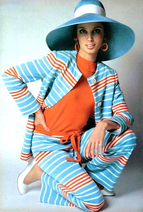 Model Evelyn Kuhn wearing Nina Ricci, 1968