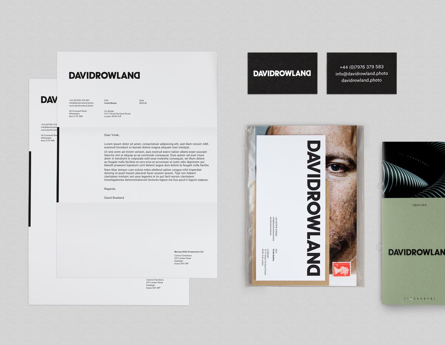 New branding for david rowland by ico design bpo brand identity brand identity headed paper business cards and lookbook by london based colourmoves