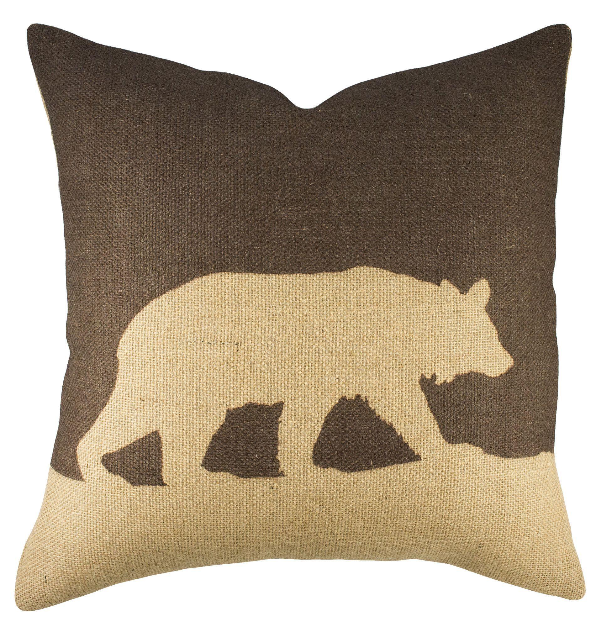 Bear Burlap Throw Pillow Burlap Throw Pillows Throw Pillows Burlap Pillows