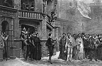HENRY III (1551-1589).   King of France, 1574-1589. Henry III meeting the Duke of Guise at the Chateau de Blois on 23 December 1588, before the King's bodyguard assassinated the Duke. Gravure after the painting by Pierre-Charles Comte, 1855.