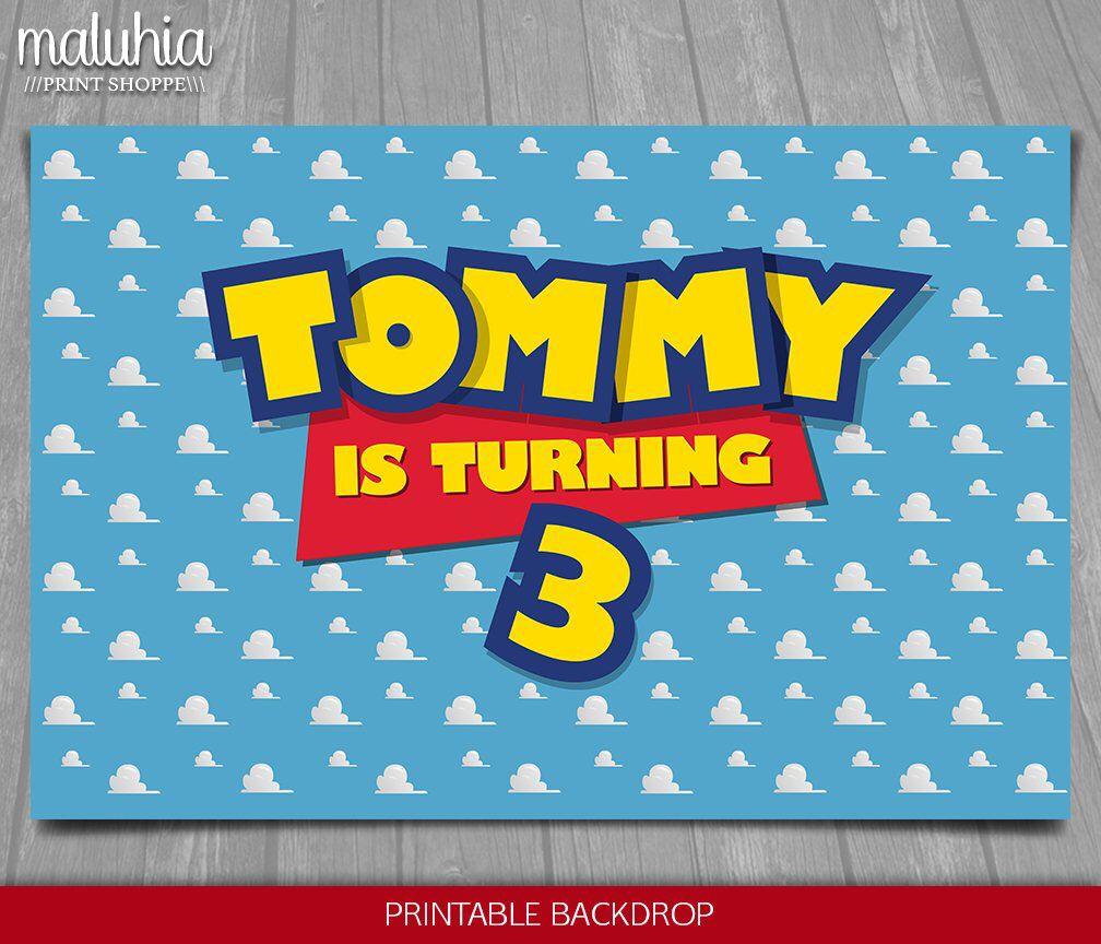 Toy Story Backdrop Personalized Happy Birthday Party Vinyl Banner Custom Name
