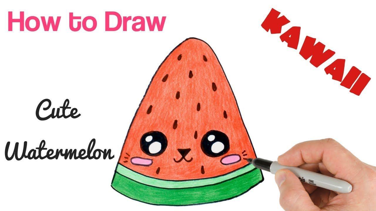 How To Draw Cute Watermelon Cat Cute Watermelon Cute Drawings Watermelon Cat