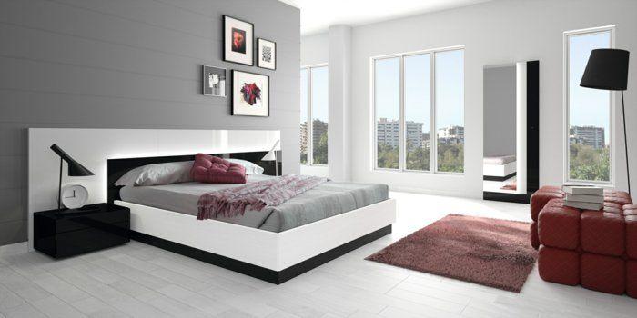Wohnideen Schlafzimmer Graue Wand Heller Boden Wanddeko Rote Akzente Amazing Ideas