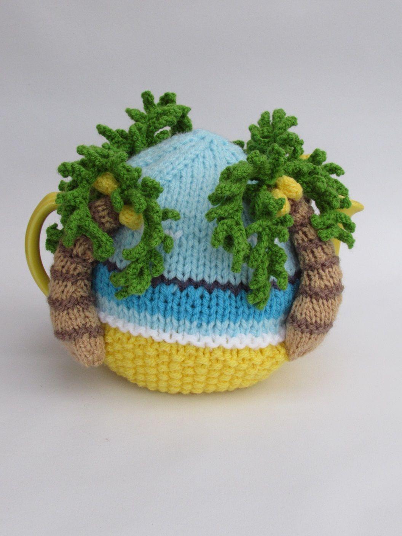 Palm Tree Beach tea cosy knitting pattern | Teteras y Adornos